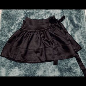 Bebe black satin wrap around short cute skirt